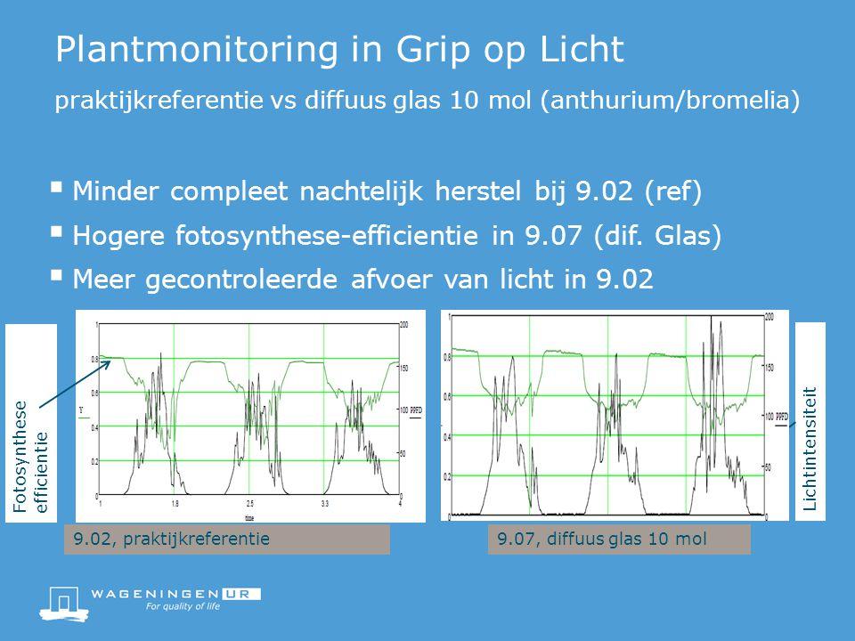 Plantmonitoring in Grip op Licht praktijkreferentie vs diffuus glas 10 mol (anthurium/bromelia)