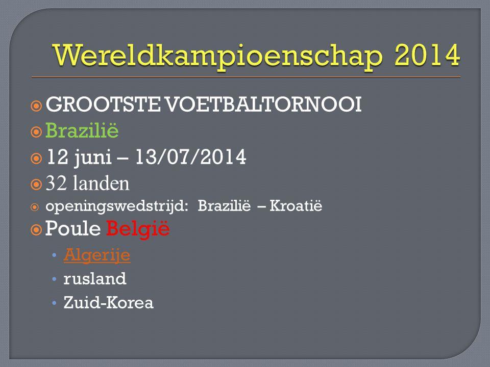 Wereldkampioenschap 2014 GROOTSTE VOETBALTORNOOI Brazilië