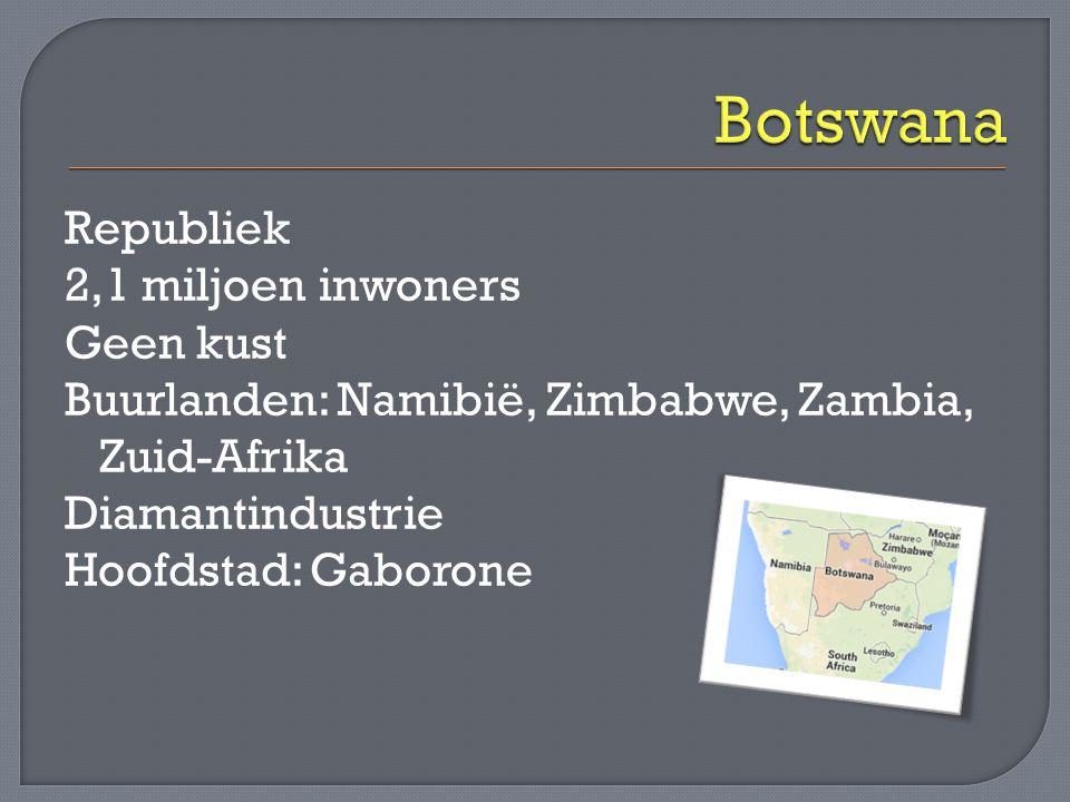 Botswana Republiek 2,1 miljoen inwoners Geen kust Buurlanden: Namibië, Zimbabwe, Zambia, Zuid-Afrika Diamantindustrie Hoofdstad: Gaborone