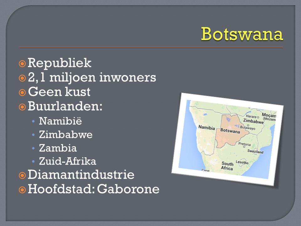 Botswana Republiek 2,1 miljoen inwoners Geen kust Buurlanden: