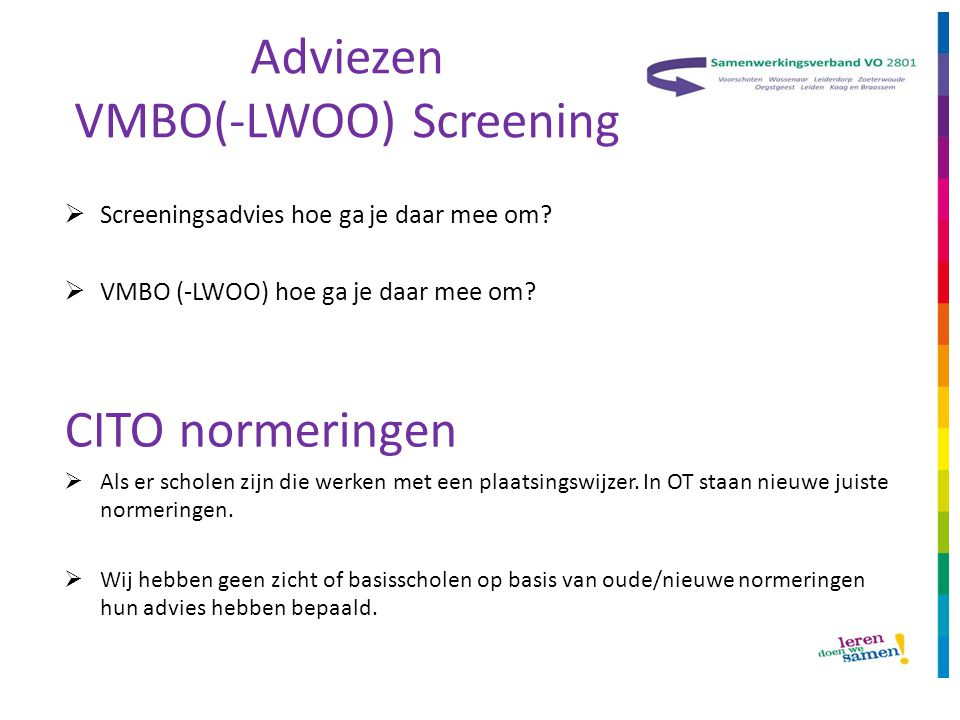 Adviezen VMBO(-LWOO) Screening