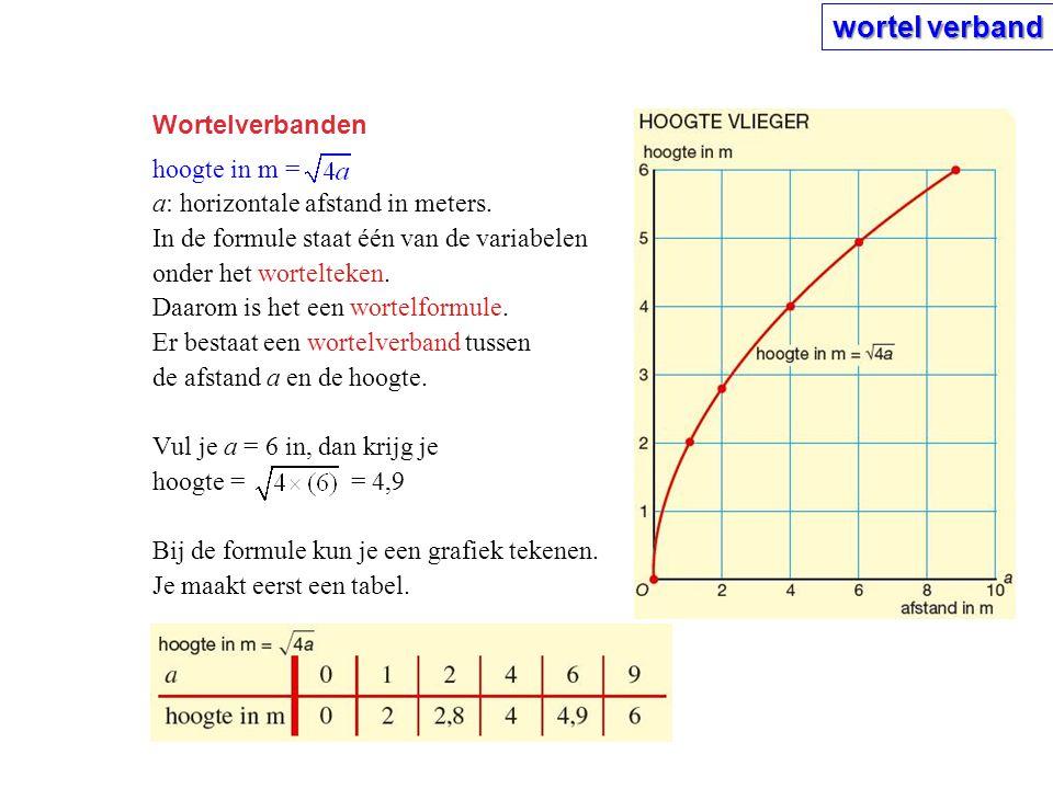 wortel verband Wortelverbanden hoogte in m =