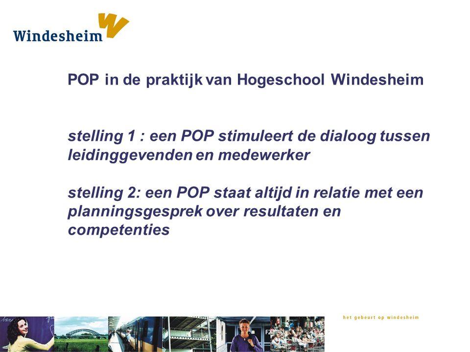 POP in de praktijk van Hogeschool Windesheim stelling 1 : een POP stimuleert de dialoog tussen leidinggevenden en medewerker stelling 2: een POP staat altijd in relatie met een planningsgesprek over resultaten en competenties