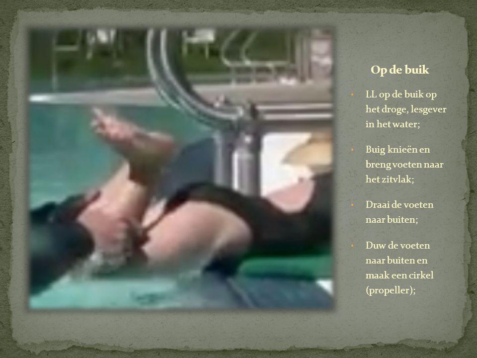 Op de buik LL op de buik op het droge, lesgever in het water;