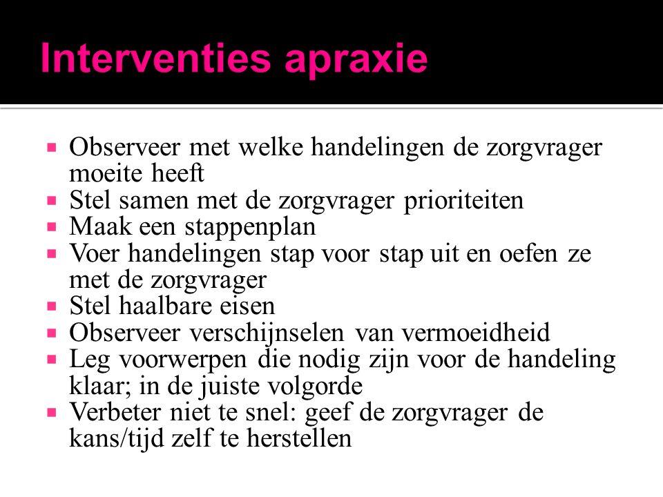 Interventies apraxie Observeer met welke handelingen de zorgvrager moeite heeft. Stel samen met de zorgvrager prioriteiten.