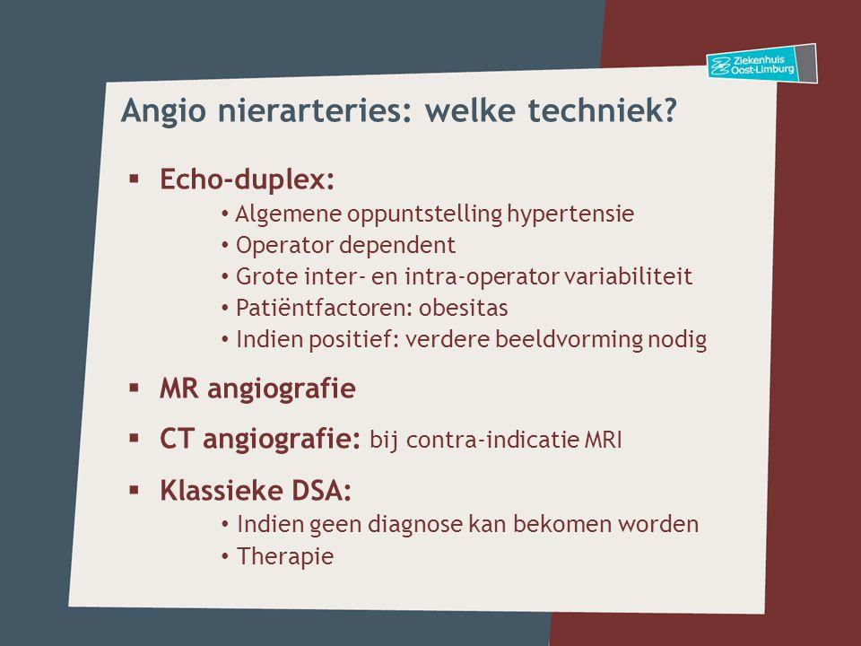Angio nierarteries: welke techniek