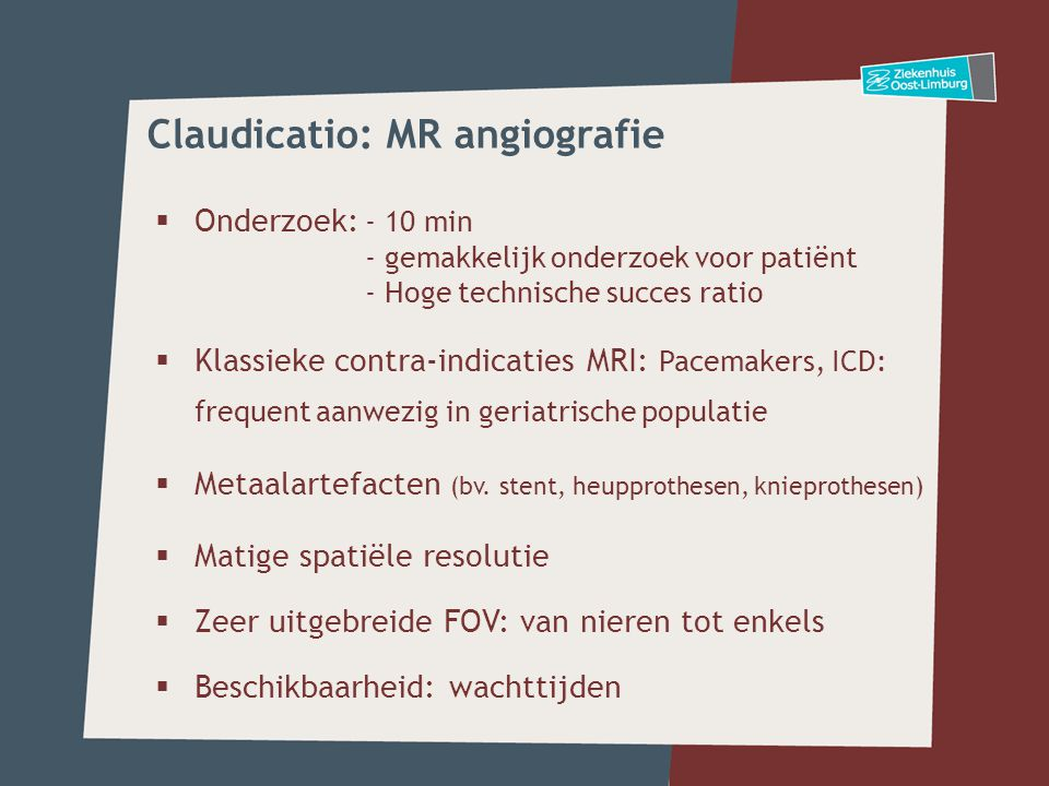 Claudicatio: MR angiografie