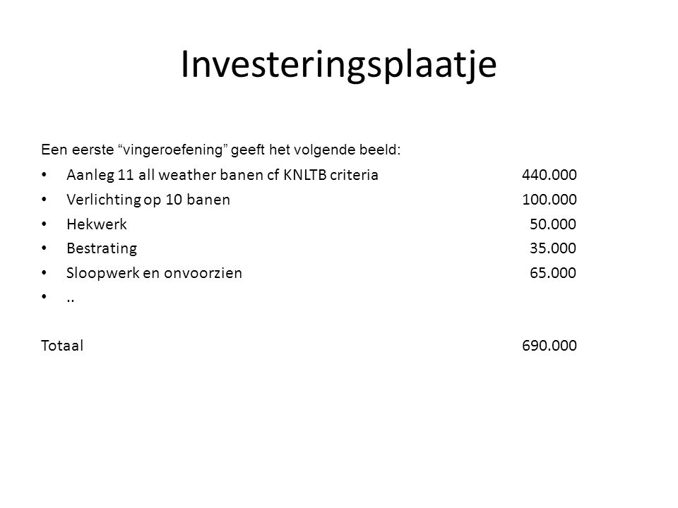 Investeringsplaatje Aanleg 11 all weather banen cf KNLTB criteria
