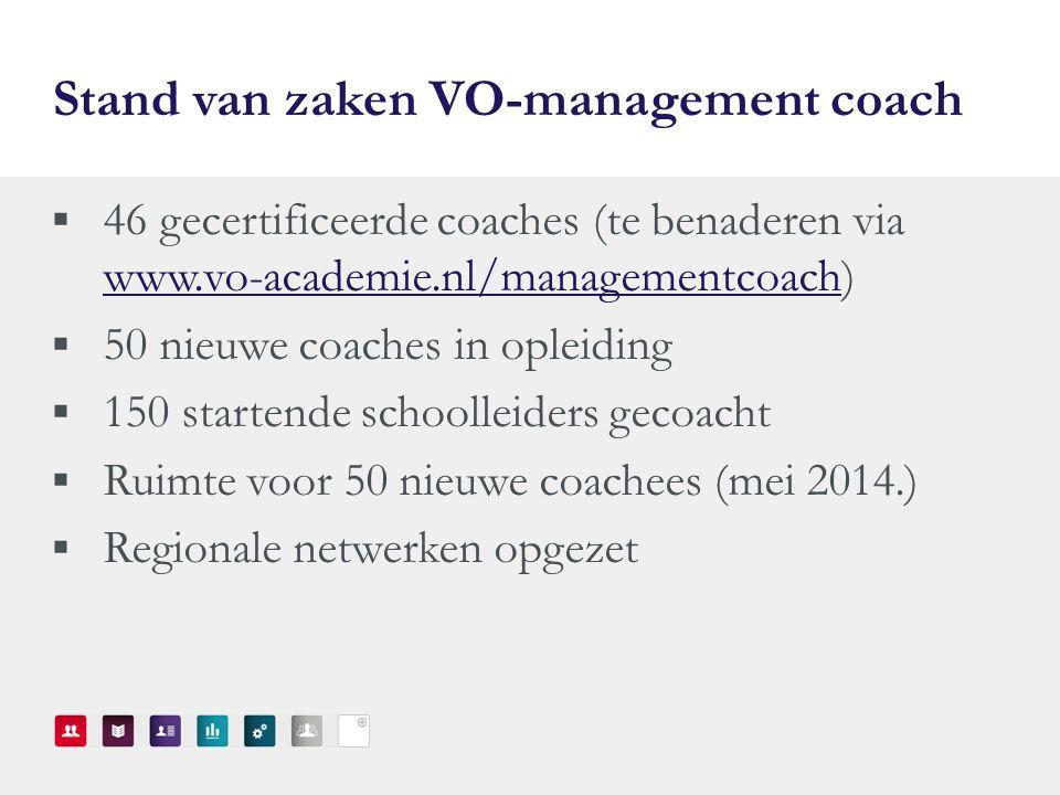 Stand van zaken VO-management coach