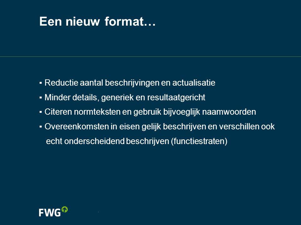 Een nieuw format… Reductie aantal beschrijvingen en actualisatie