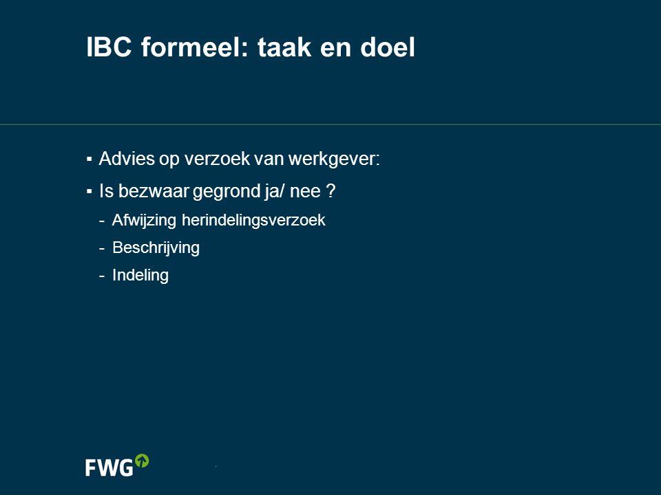 IBC formeel: taak en doel