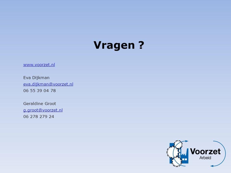 Vragen www.voorzet.nl Eva Dijkman eva.dijkman@voorzet.nl