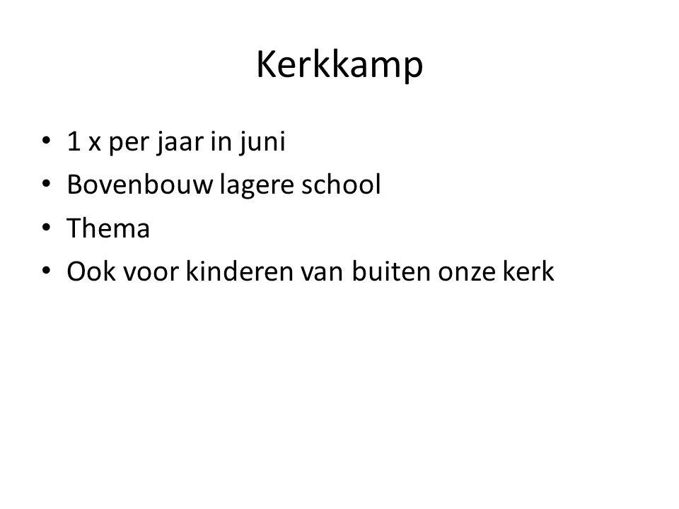 Kerkkamp 1 x per jaar in juni Bovenbouw lagere school Thema