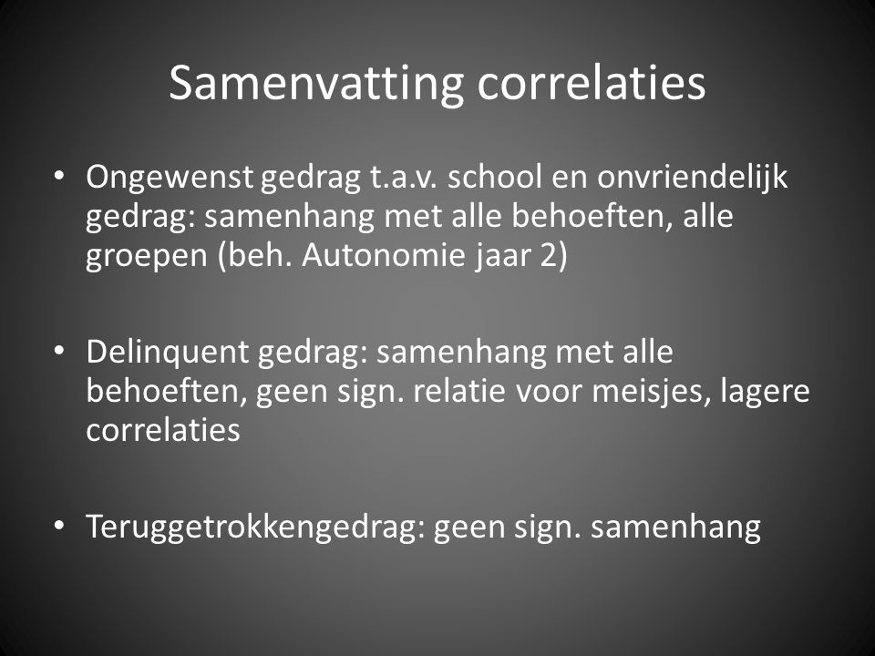 Samenvatting correlaties