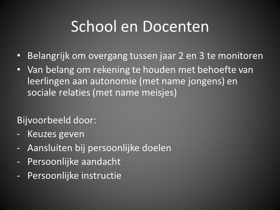 School en Docenten Belangrijk om overgang tussen jaar 2 en 3 te monitoren.