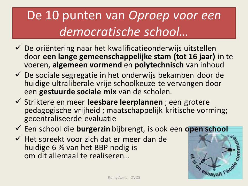 De 10 punten van Oproep voor een democratische school…