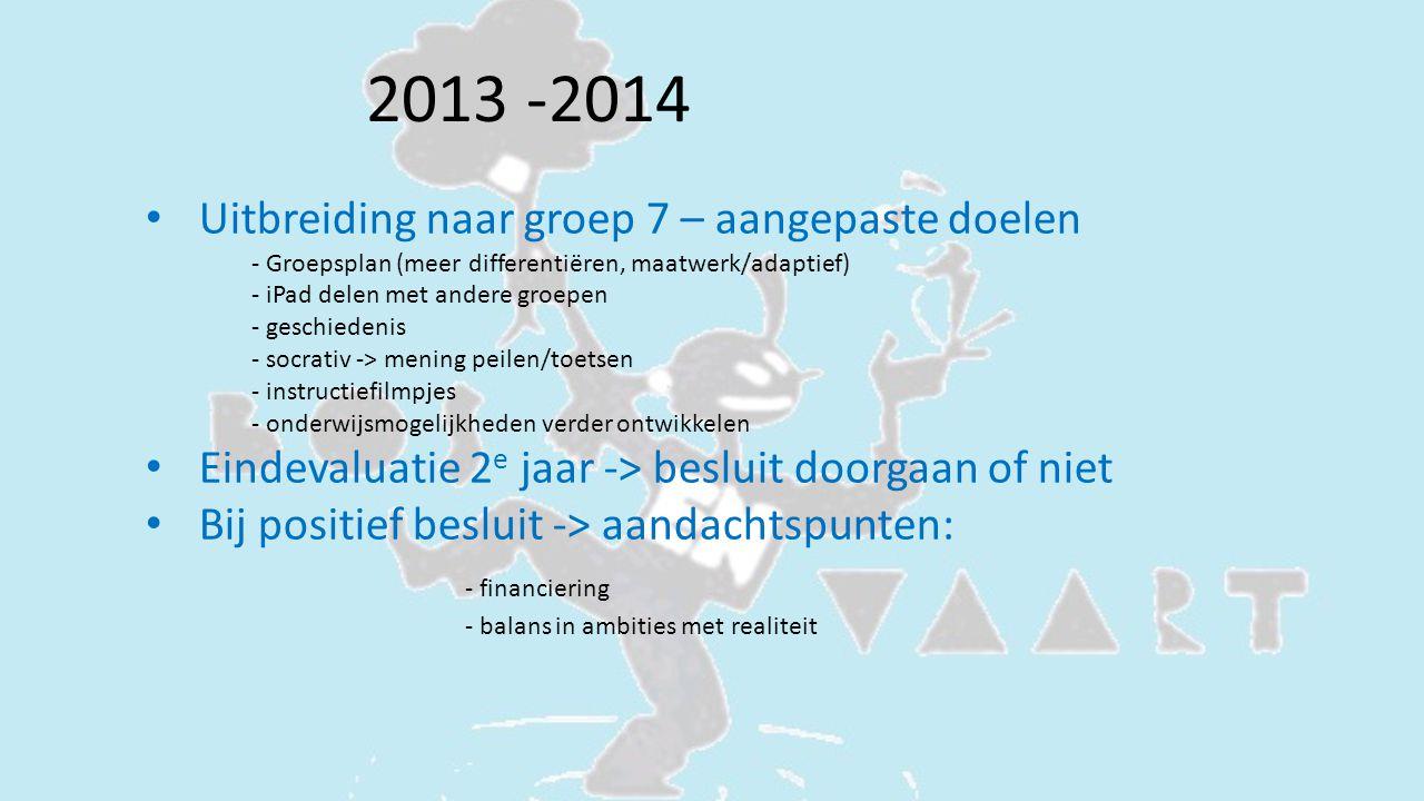 2013 -2014 Uitbreiding naar groep 7 – aangepaste doelen