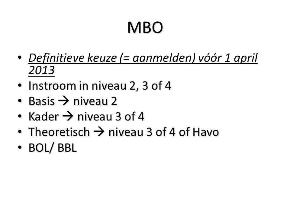 MBO Definitieve keuze (= aanmelden) vóór 1 april 2013