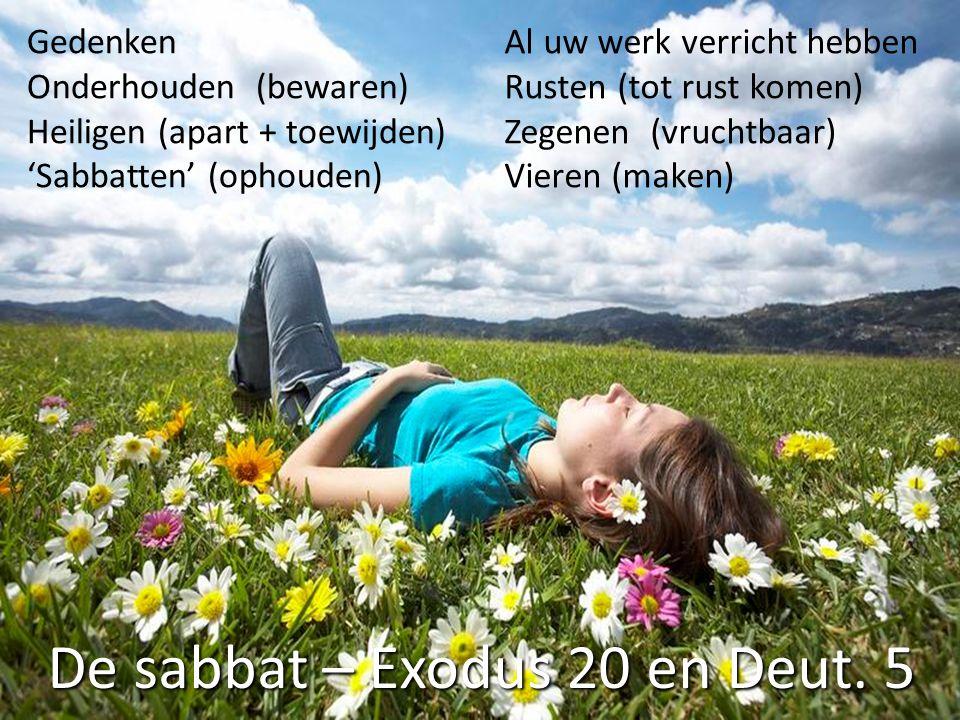 De sabbat – Exodus 20 en Deut. 5