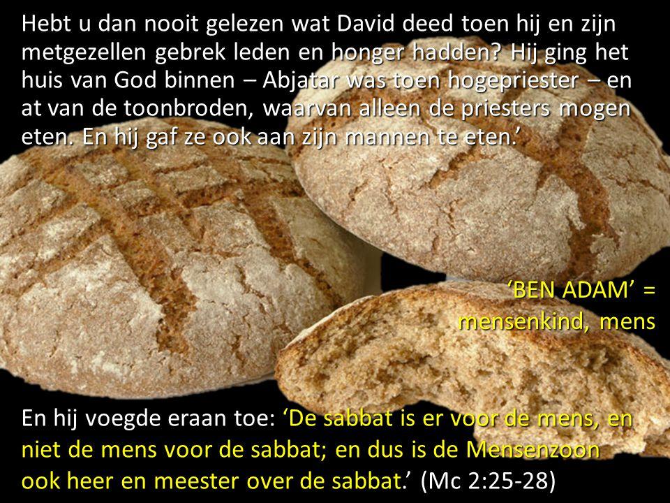 Hebt u dan nooit gelezen wat David deed toen hij en zijn metgezellen gebrek leden en honger hadden Hij ging het huis van God binnen – Abjatar was toen hogepriester – en at van de toonbroden, waarvan alleen de priesters mogen eten. En hij gaf ze ook aan zijn mannen te eten.'