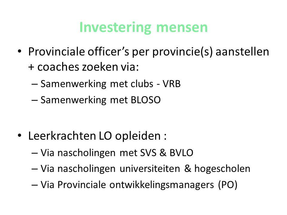 Investering mensen Provinciale officer's per provincie(s) aanstellen + coaches zoeken via: Samenwerking met clubs - VRB.