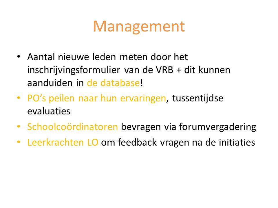 Management Aantal nieuwe leden meten door het inschrijvingsformulier van de VRB + dit kunnen aanduiden in de database!