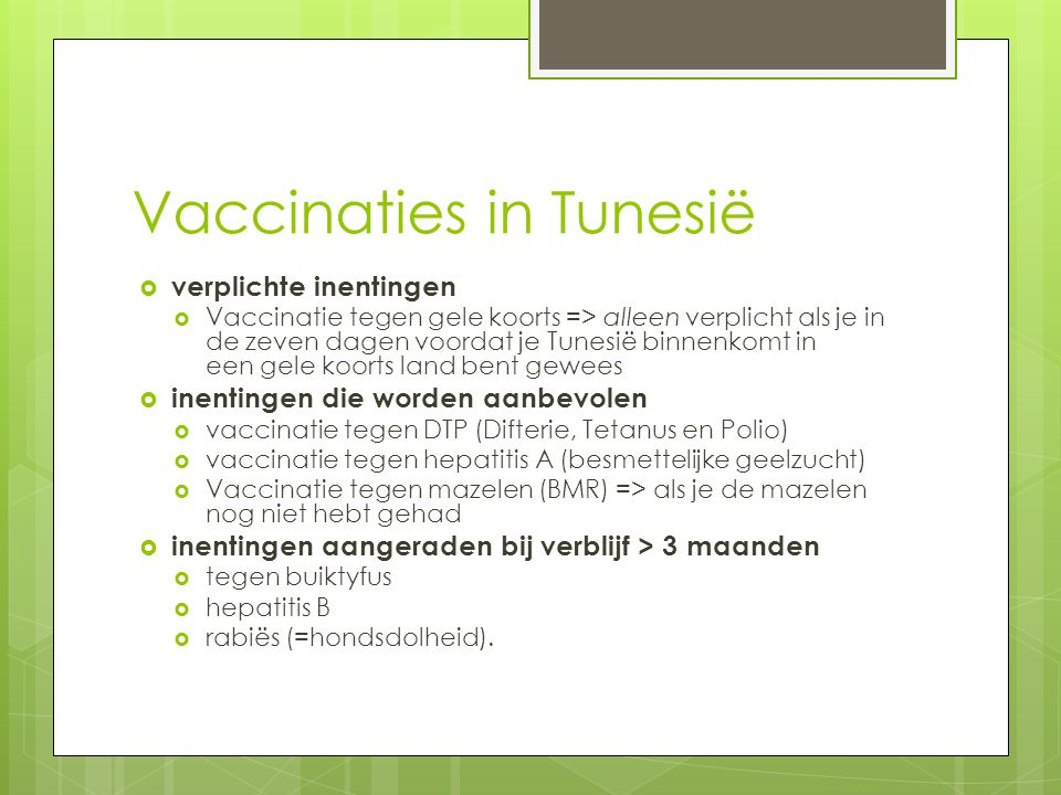 Vaccinaties in Tunesië