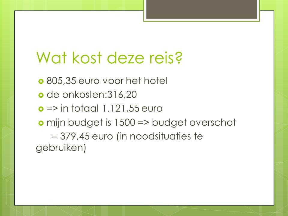 Wat kost deze reis 805,35 euro voor het hotel de onkosten:316,20