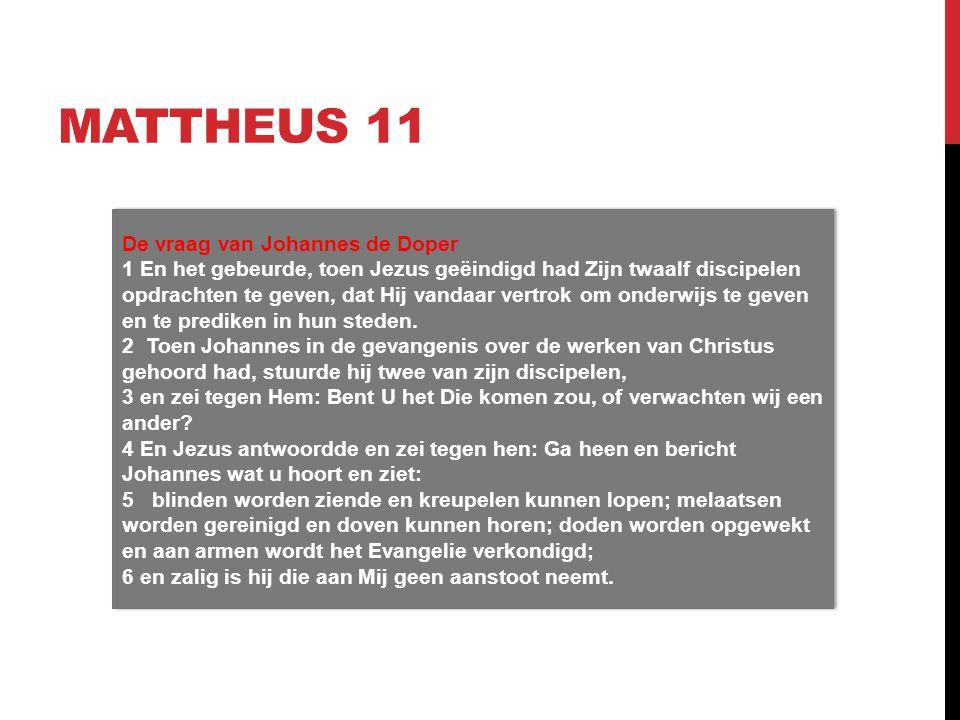Mattheus 11 De vraag van Johannes de Doper