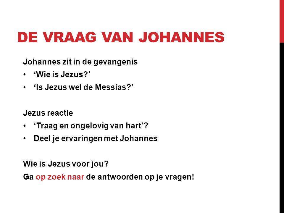 De vraag van Johannes Johannes zit in de gevangenis 'Wie is Jezus '