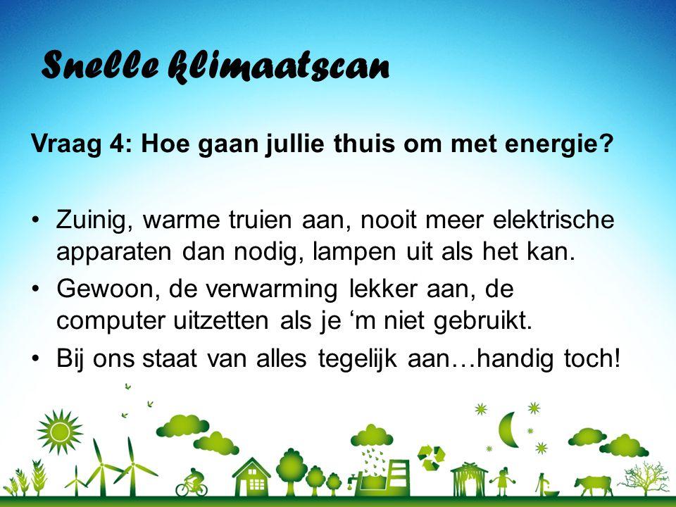 Snelle klimaatscan Vraag 4: Hoe gaan jullie thuis om met energie