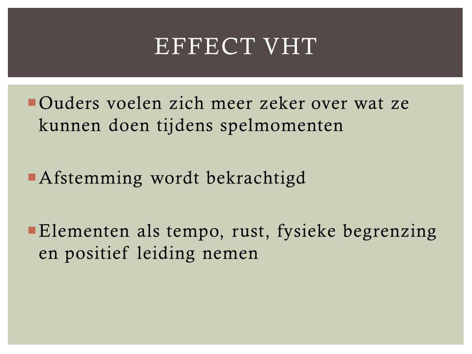 Effect VHT Ouders voelen zich meer zeker over wat ze kunnen doen tijdens spelmomenten. Afstemming wordt bekrachtigd.