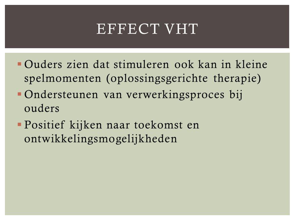EFFECT VHT Ouders zien dat stimuleren ook kan in kleine spelmomenten (oplossingsgerichte therapie) Ondersteunen van verwerkingsproces bij ouders.