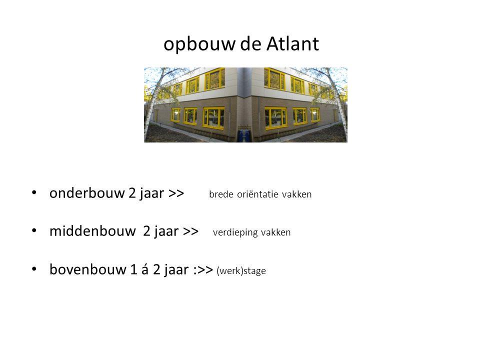 opbouw de Atlant onderbouw 2 jaar >> brede oriëntatie vakken
