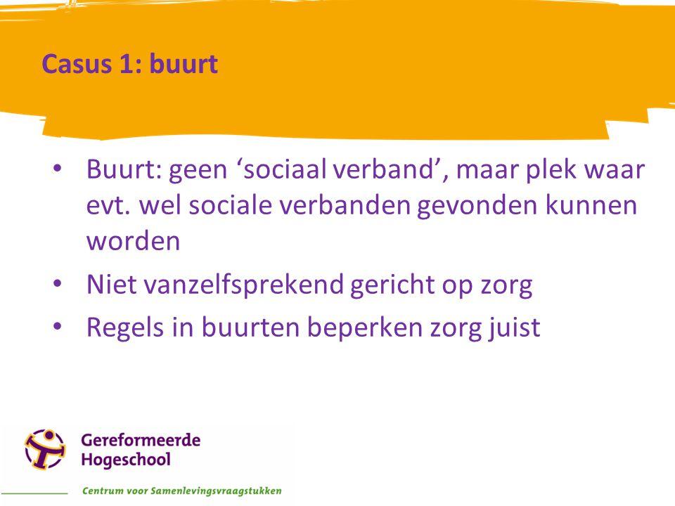 Casus 1: buurt Buurt: geen 'sociaal verband', maar plek waar evt. wel sociale verbanden gevonden kunnen worden.