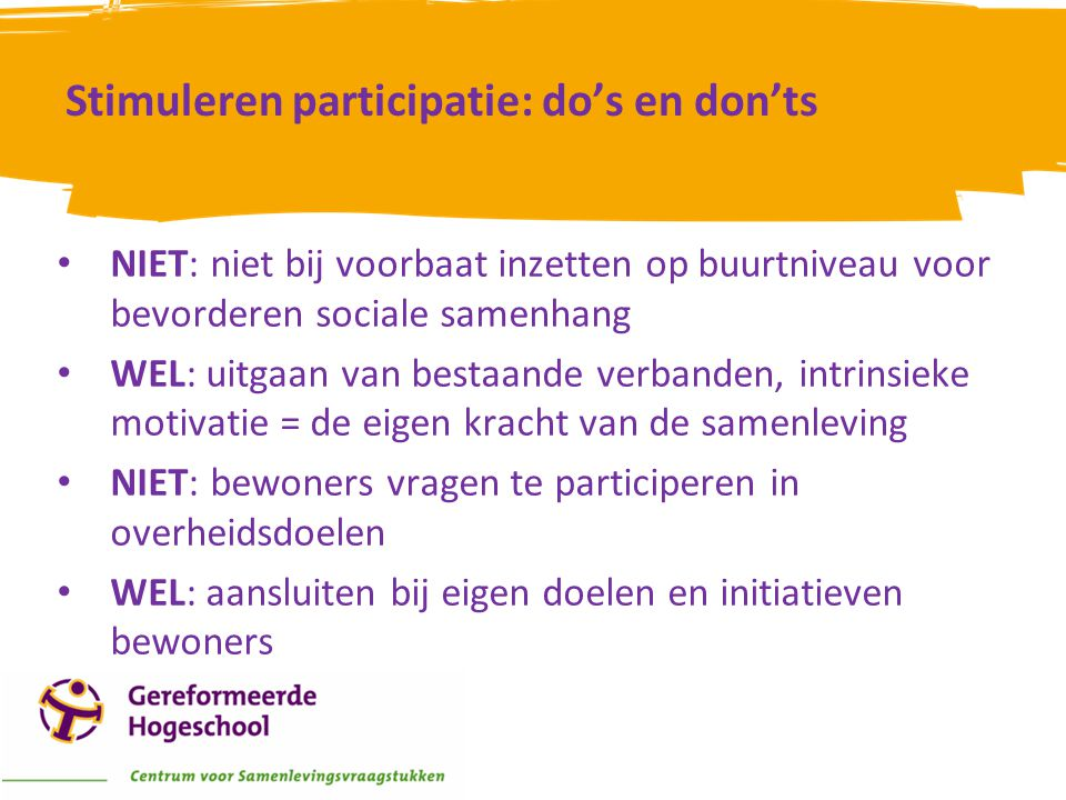 Stimuleren participatie: do's en don'ts