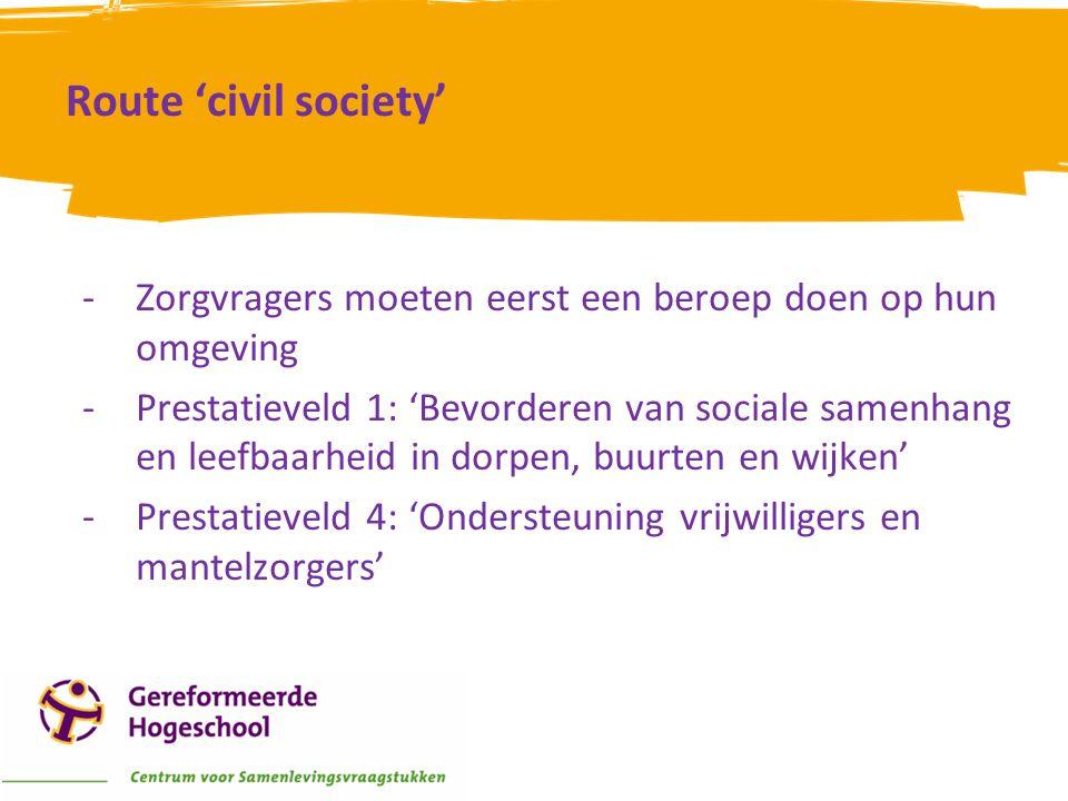 Route 'civil society' Zorgvragers moeten eerst een beroep doen op hun omgeving.