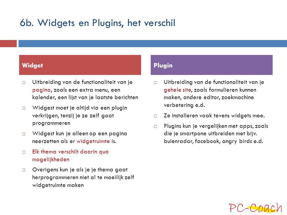 6b. Widgets en Plugins, het verschil
