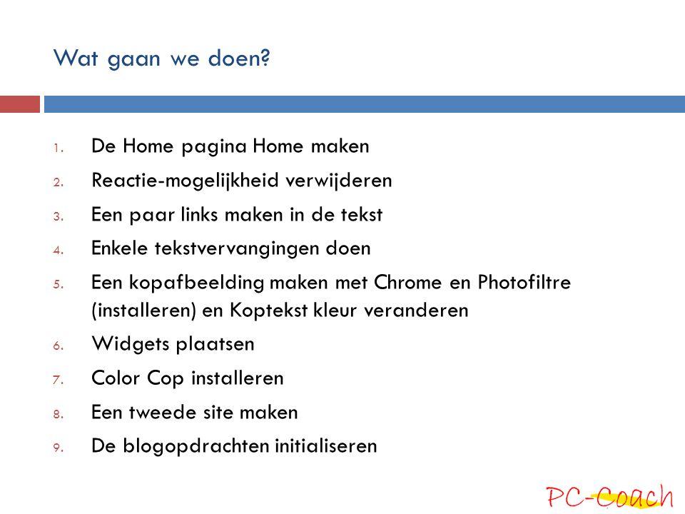 Wat gaan we doen De Home pagina Home maken