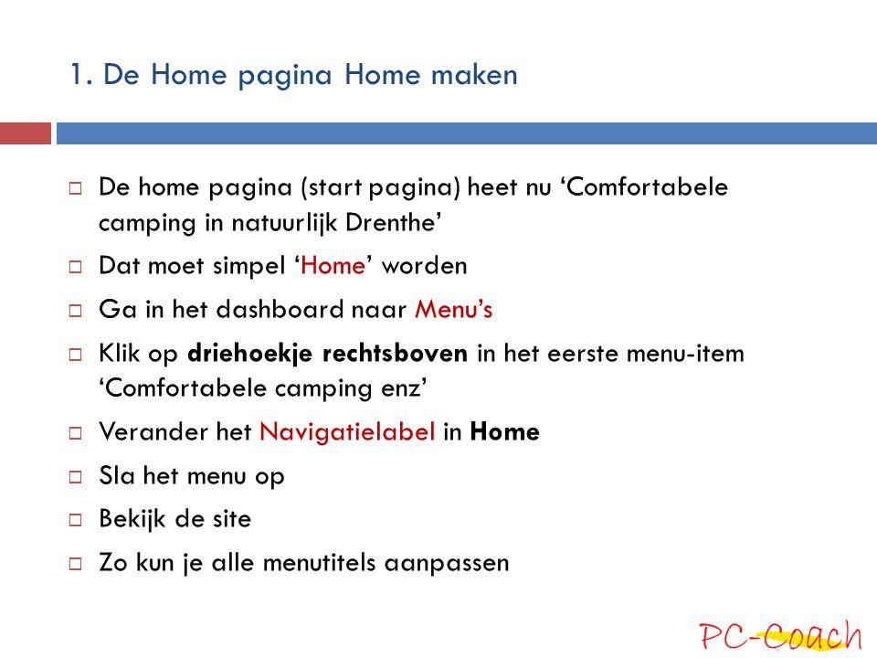 1. De Home pagina Home maken