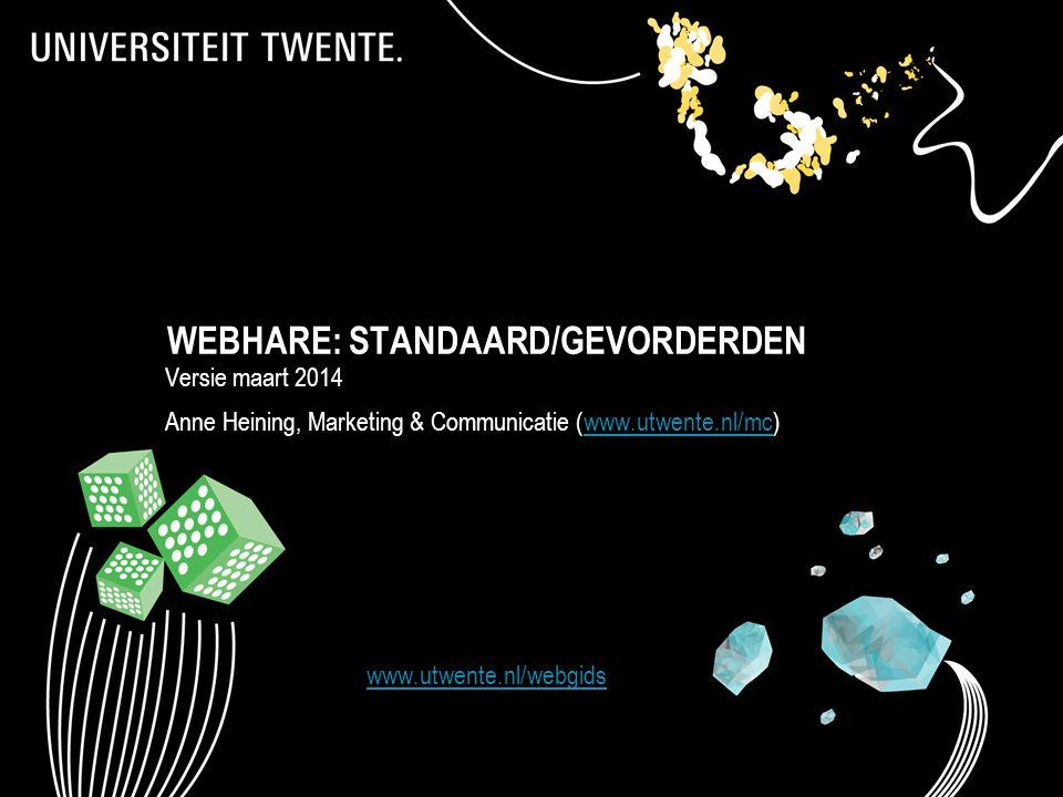 WEBHARE: STANDAARD/GEVORDERDEN