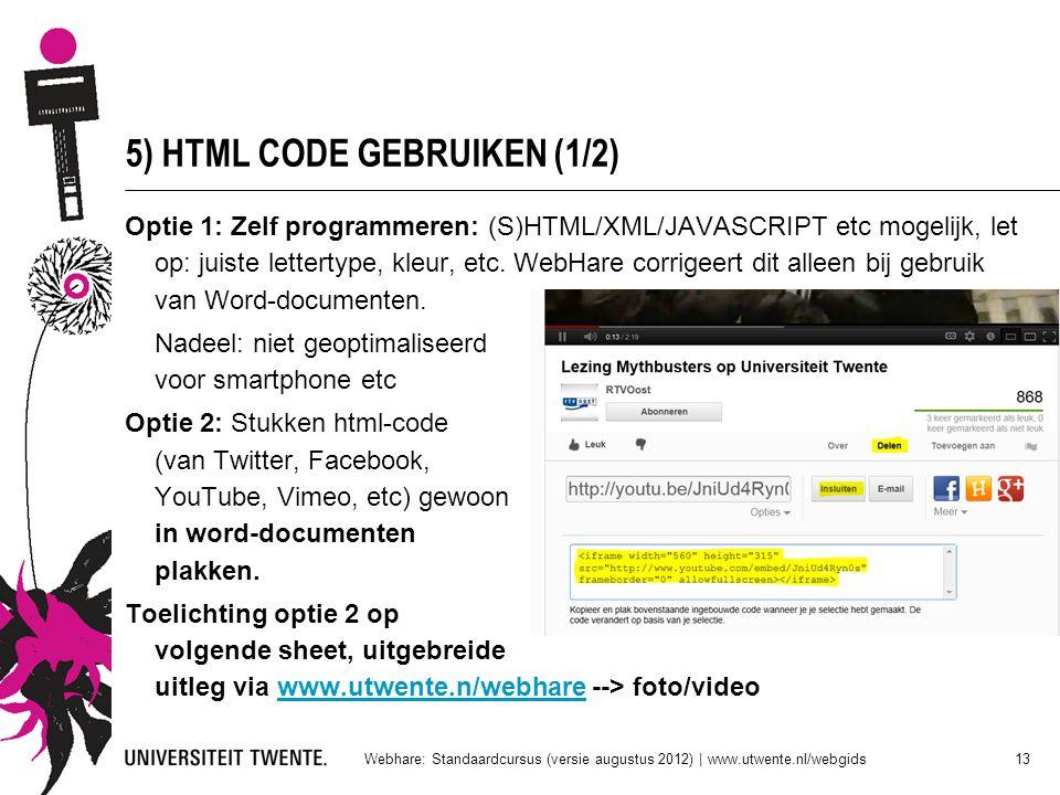 5) HTML CODE GEBRUIKEN (1/2)