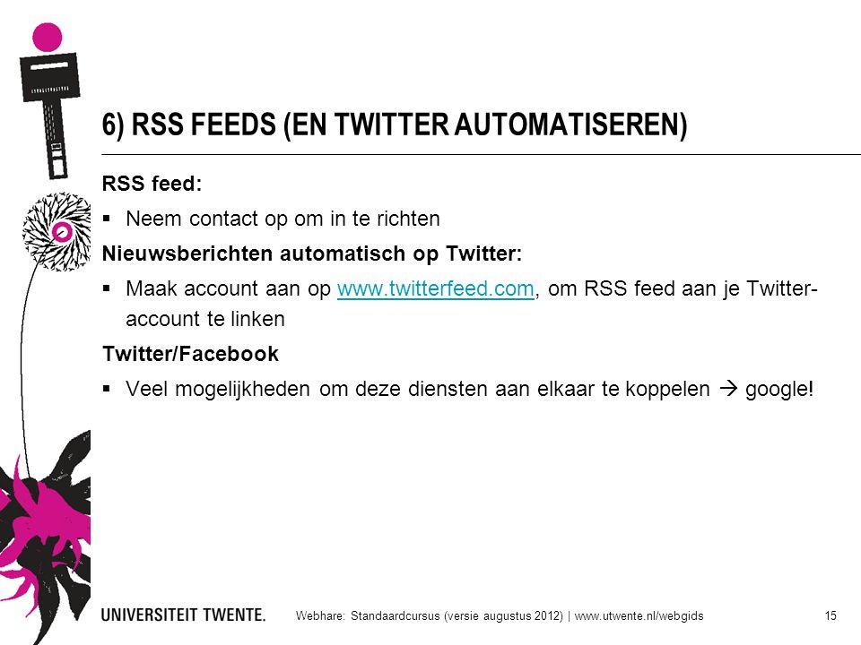 6) RSS FEEDS (EN TWITTER AUTOMATISEREN)