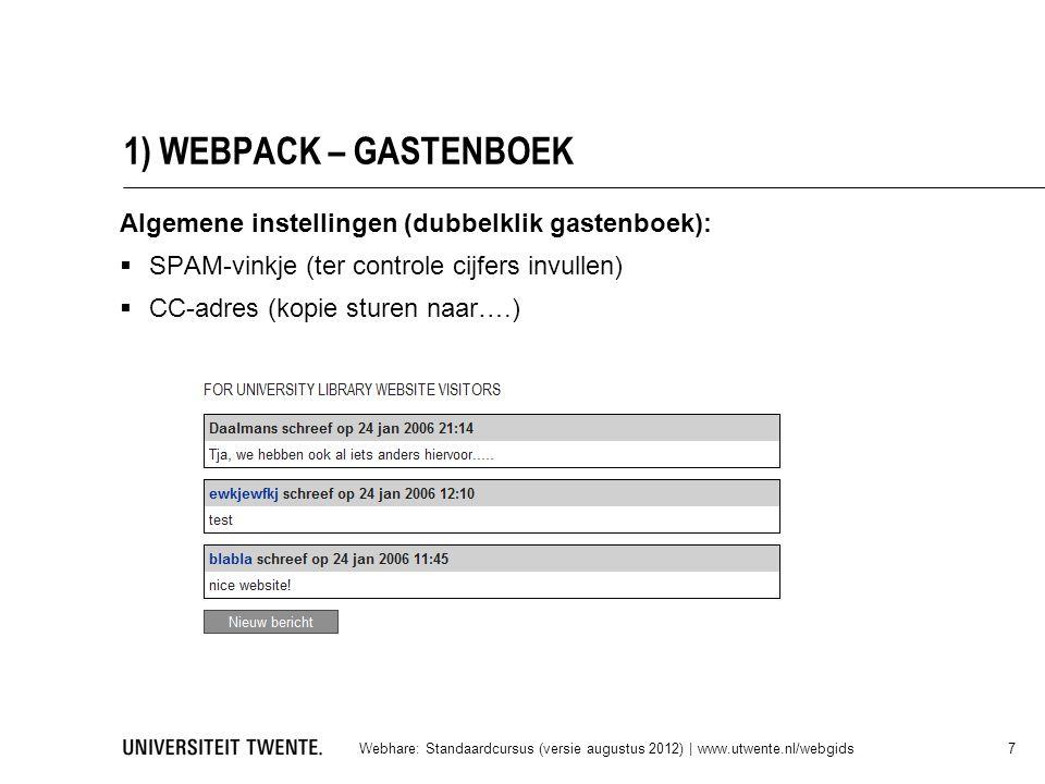 1) WEBPACK – GASTENBOEK Algemene instellingen (dubbelklik gastenboek):