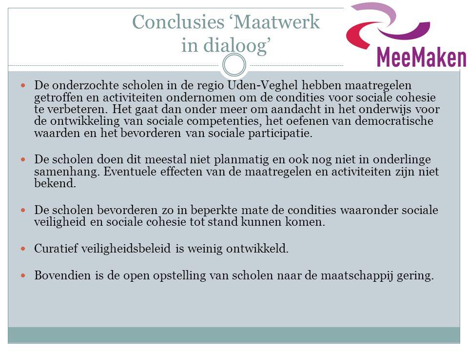 Conclusies 'Maatwerk in dialoog'
