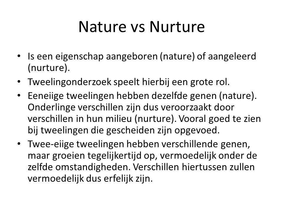 Nature vs Nurture Is een eigenschap aangeboren (nature) of aangeleerd (nurture). Tweelingonderzoek speelt hierbij een grote rol.