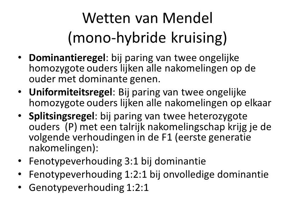 Wetten van Mendel (mono-hybride kruising)