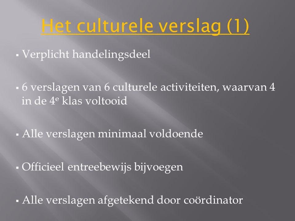Het culturele verslag (1)