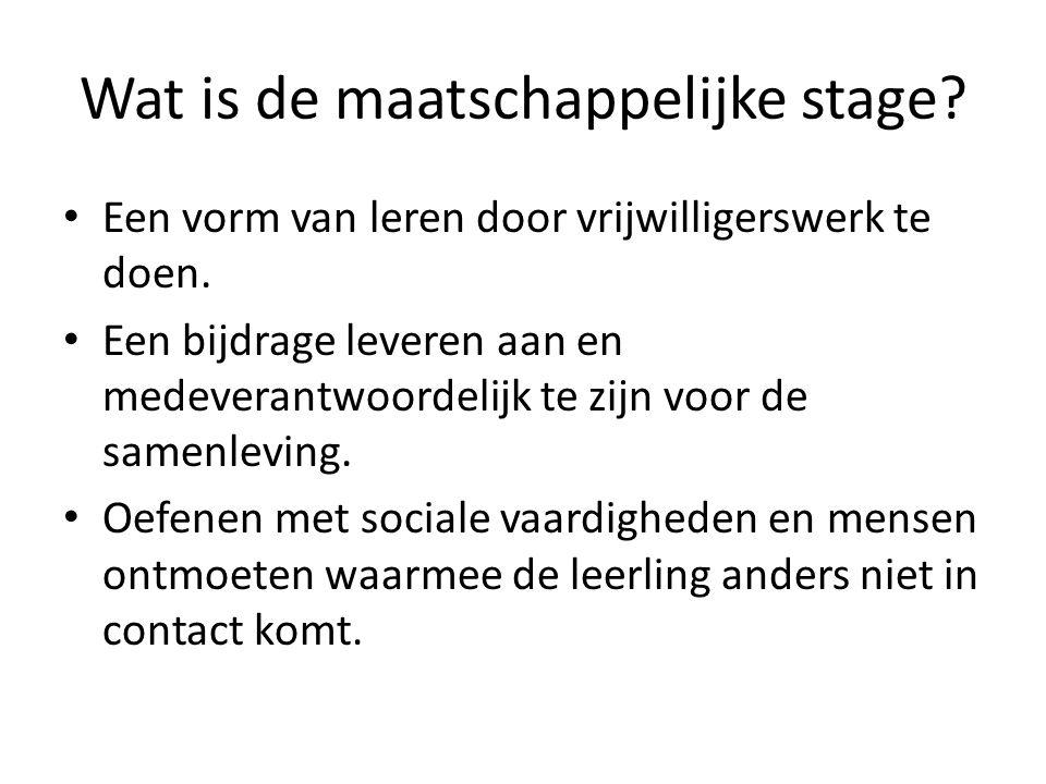 Wat is de maatschappelijke stage