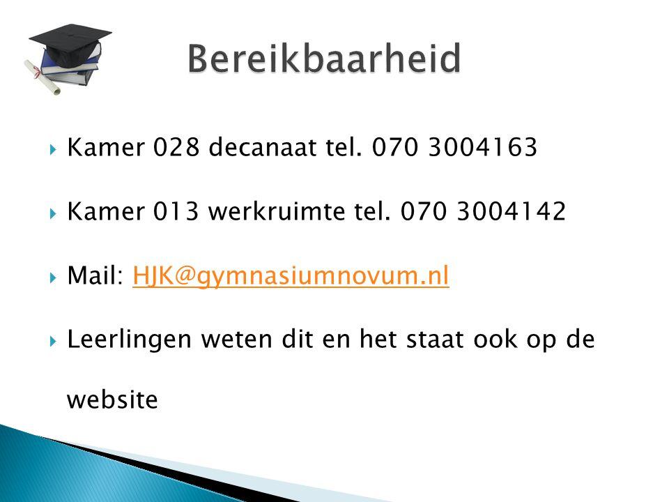 Bereikbaarheid Kamer 028 decanaat tel. 070 3004163
